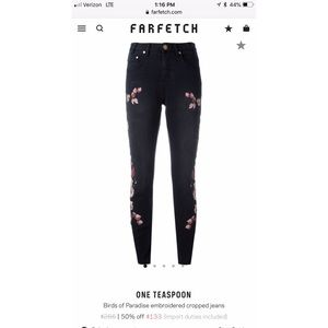 One Teaspoon Birds of Paradise embroidered jeans